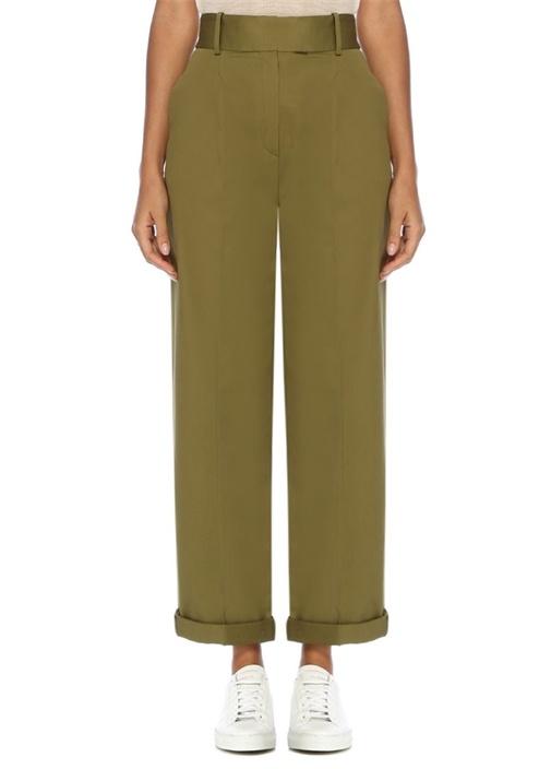 Haki Yüksek Bel Pileli Paçası Katlı Pantolon