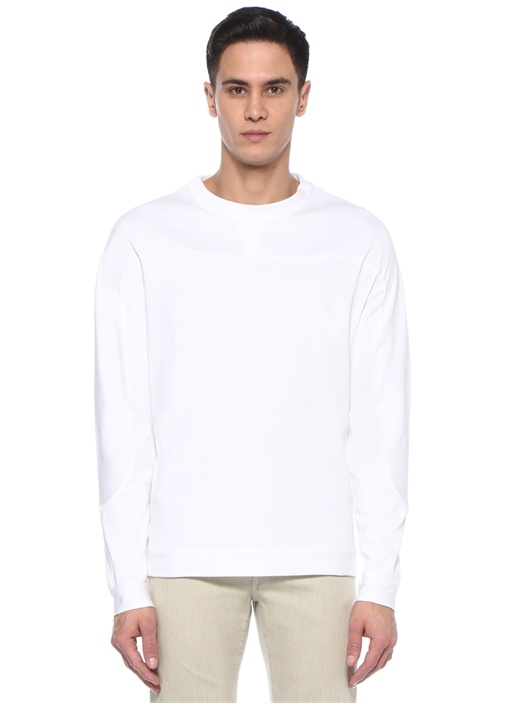 Beyaz Dekoratif Dikişli Uzun Kollu T-shirt