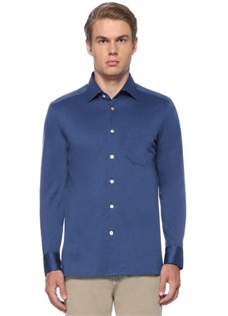 Kiton Erkek Mavi İngiliz Yaka Cepli Gömlek XL EU male