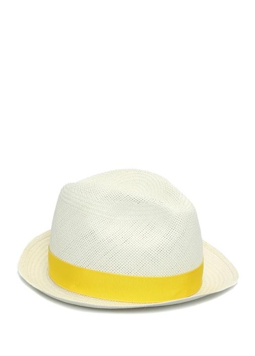 Beyaz Sarı Bant Detaylı Erkek Hasır Şapka