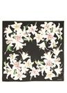 Lilium Siyah Çiçekli 90x90 cm Kadın İpek Eşarp