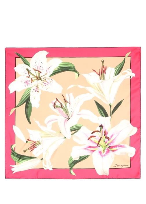 Lilium Pembe Çiçekli 70x70 cm Kadın İpek Eşarp