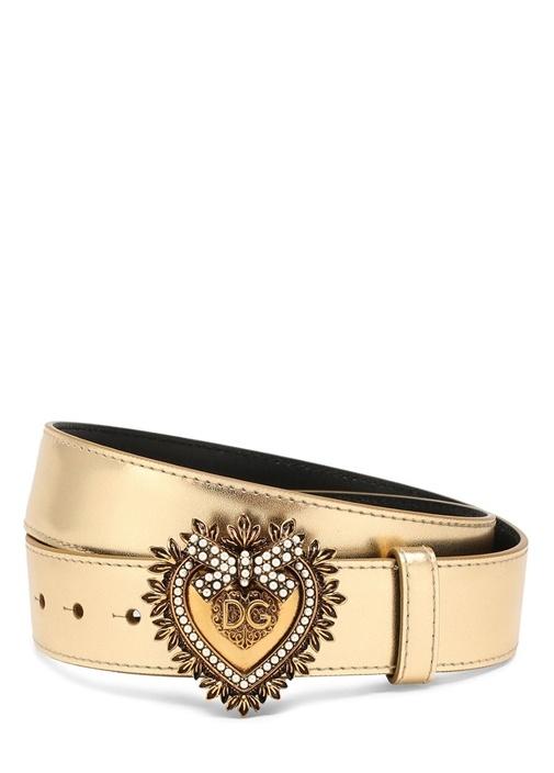 Gold Kalpli Logo İşlemeli Kadın Deri Kemer