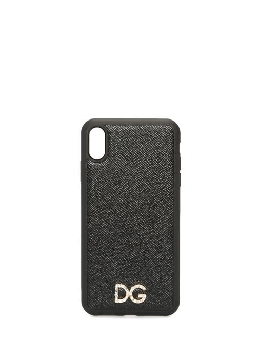 Siyah Deri iPhone XS Max Telefon Kılıfı