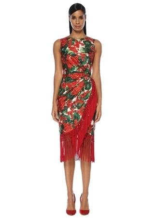 b7aabc7b46287 Portofino Kırmızı Çiçekli Drapeli Midi İpek Elbise