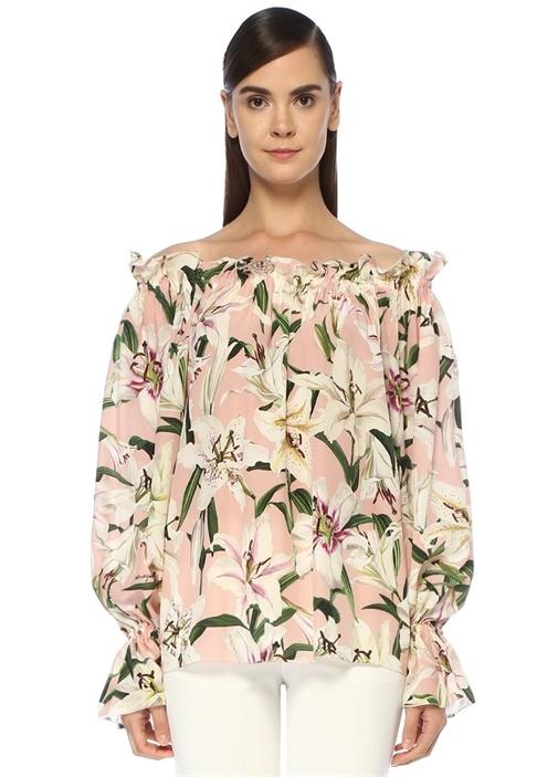 Lilium Pembe Omzu Açık Desenli İpek Bluz