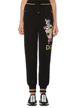 Dolce&Gabbana Kadın Siyah Çiçek Nakışlı Gold Şeritli Eşofman Altı 40 IT female