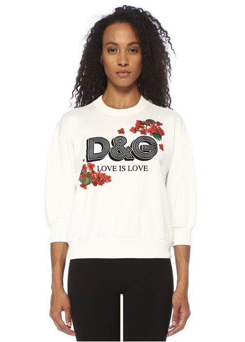 Oversize Beyaz Logo Baskılı Crop Sweatshirt