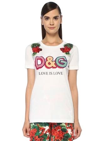 Beyaz Logo Baskılı Çiçek Aplike DetaylıT-shirt