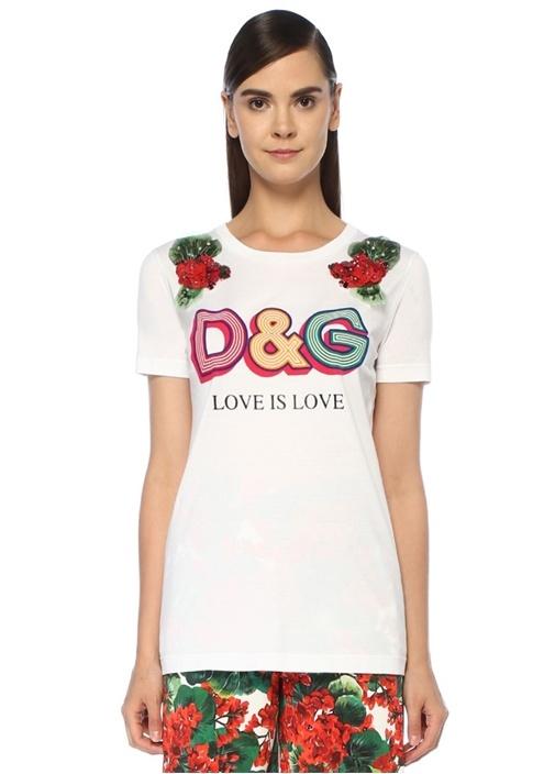 Beyaz Logo Baskılı Çiçek Aplike Detaylı T-shirt