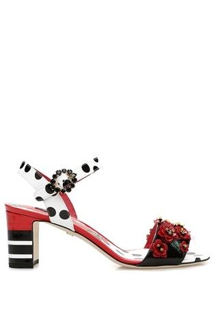 Portofino Çiçek Aksesuarlı Kadın Deri Sandalet