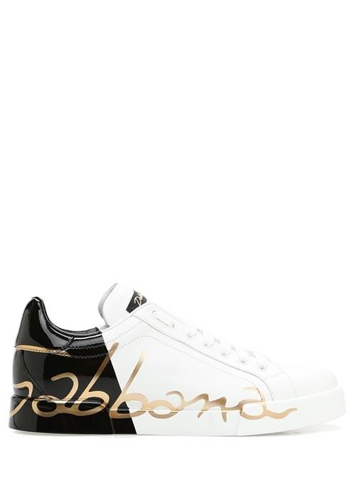 Portofino Beyaz Siyah Logolu Kadın DeriSneaker