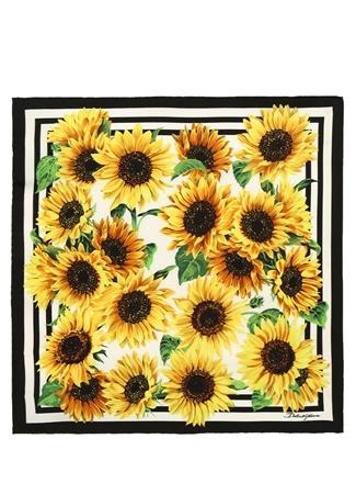Kadın Sunflower Sarı Papatya Baskılı İpek Fular EU