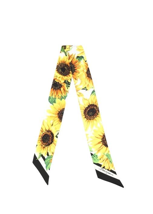 Sunflower Sarı Papatya Baskılı Kadın İpek Fular