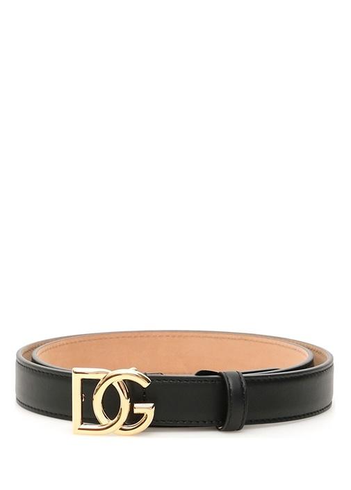 Siyah Gold Logo Detaylı Kadın Deri Kemer