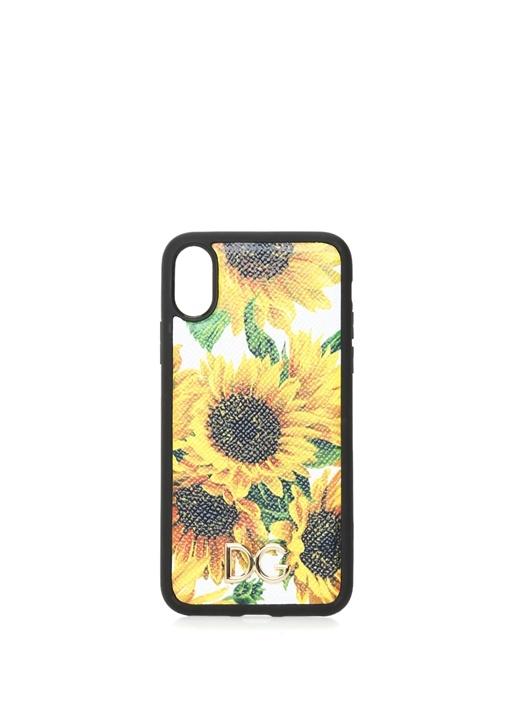 Ayçiçeği Baskılı Deri iPhone X XS Telefon Kılıfı