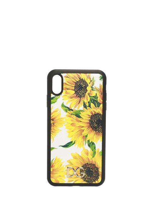 Ayçiçeği Baskılı Deri iPhone XS Max Telefon Kılıfı