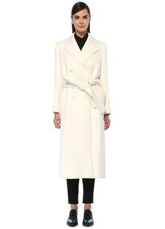 Dolce&Gabbana Kadın Beyaz Beli Kuşaklı Kruvaze Kaşmir Palto 40 IT female