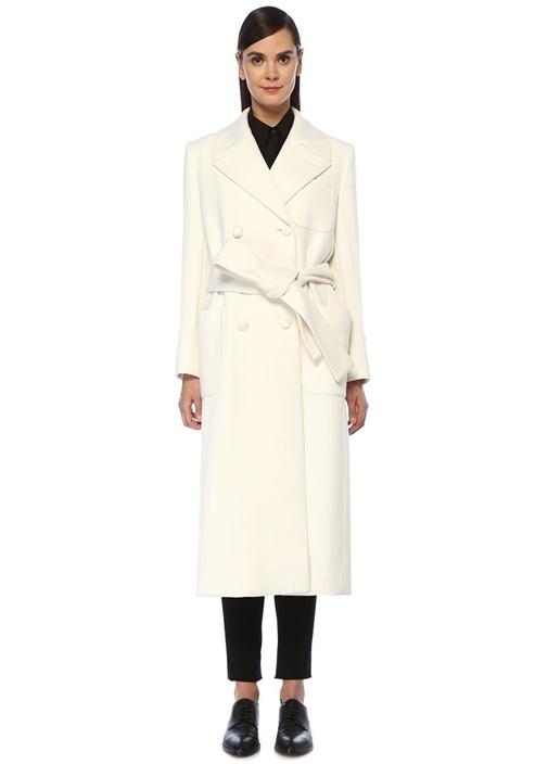 Beyaz Beli Kuşaklı Kruvaze Kaşmir Palto