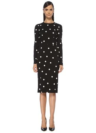 Dolce&Gabbana Kadın Siyah Puantiyeli Uzun Kol Midi Krep Elbise 40 IT female