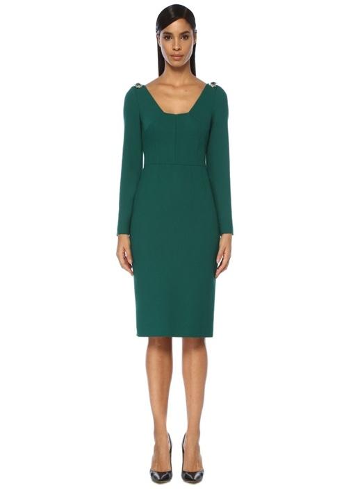 Yeşil Omzu Taş Detaylı Midi Yün Kokteyl Elbise