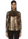 Gold Leopar Desenli İpek Gömlek