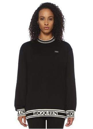 Dolce&Gabbana Kadın Oversize Siyah Şeritli Logo Bantlı Sweatshirt 40 IT