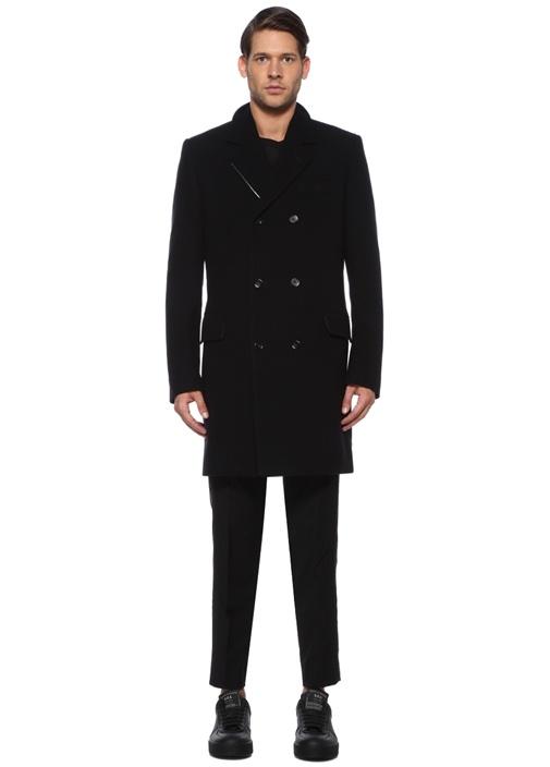 Siyah İngiliz Yaka Yün Palto