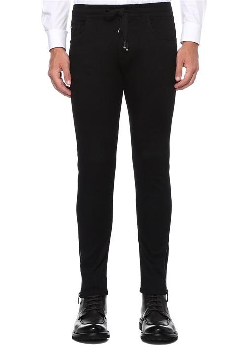 Siyah Beli Bağcıklı Dar Paça Jean Pantolon