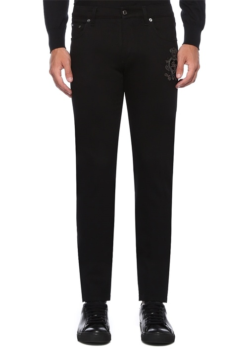 Skinny Fit Siyah Logo Patchli Jean Pantolon