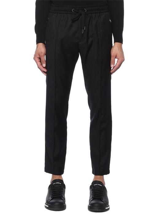 Siyah Logo Baskılı Dar Paça Yün Pantolon