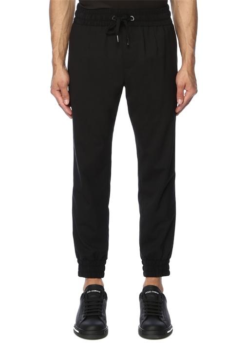 Siyah Normal Bel Yün Jogger Pantolon