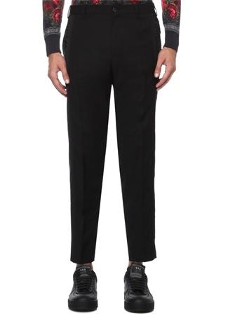 Siyah Nakış Detaylı Yün Smokin Pantolonu