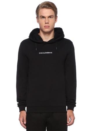 Siyah Kapüşonlu Logo Nakışlı Sweatshirt