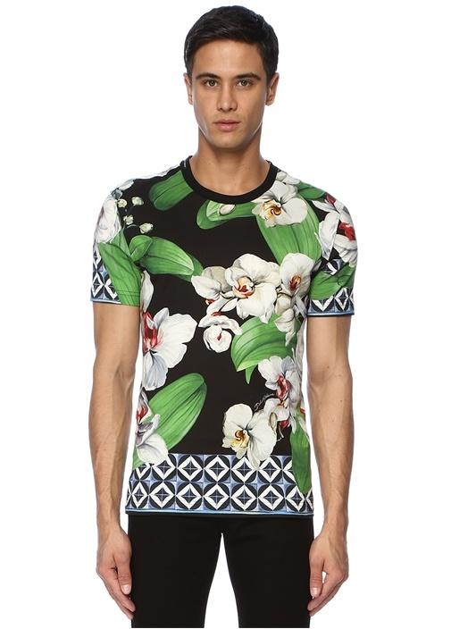 Yeşil Siyah Bisiklet Yaka Orkide Baskılı T-shirt