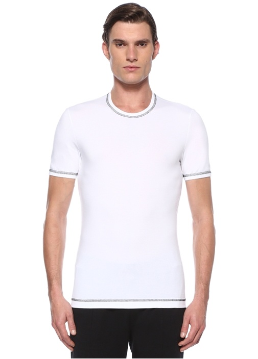 Beyaz Kontrast Dikişli Basic T-shirt