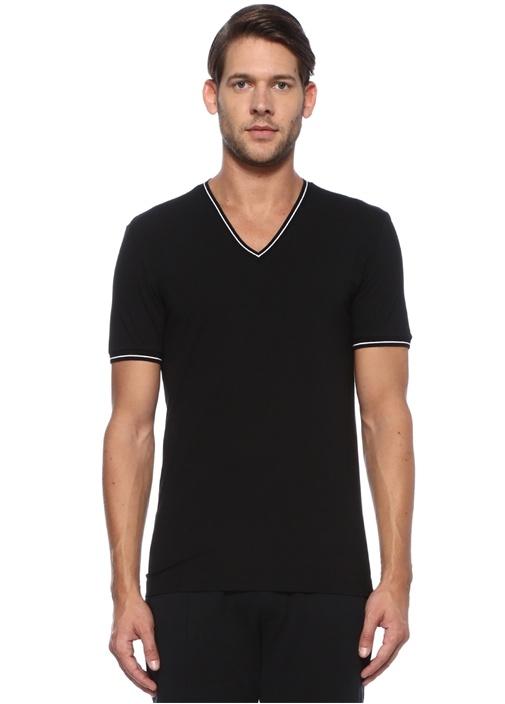 Siyah Yakası Kontrast Ribli Erkek T-shirt