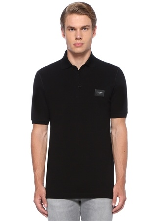 Siyah Polo Yaka Logolu Pike Dokulu T-shirt