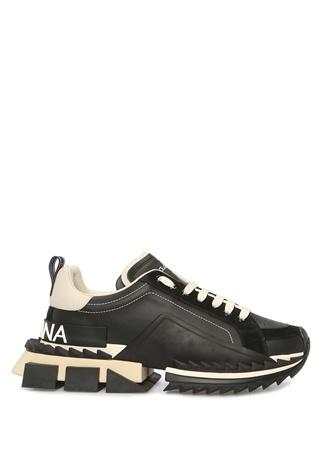 Dolce&Gabbana Erkek Super King Siyah Süet Garnili Deri Sneaker 43.5 EU male