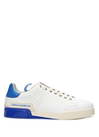 Dolce&Gabbana Erkek Portofino Beyaz Mavi Deri Sneaker 4 EU male 41