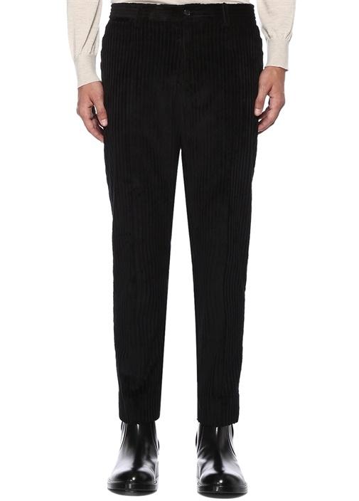 Siyah Normal Bel Çizgi Desenli Boru Paça Pantolon