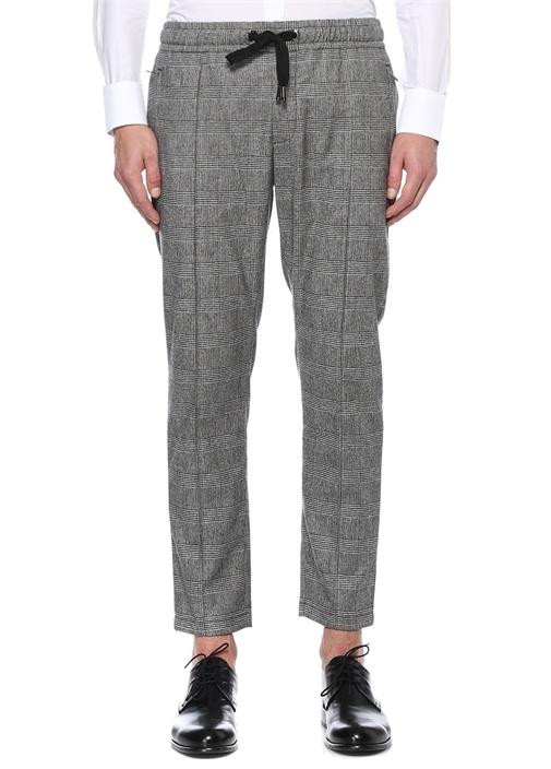 Siyah Beyaz Beli Bağcıklı Ekoseli Yün Pantolon