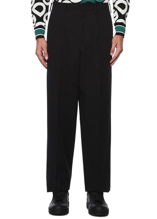 Siyah Beyaz Yüksek Bel Pilili Pantolon