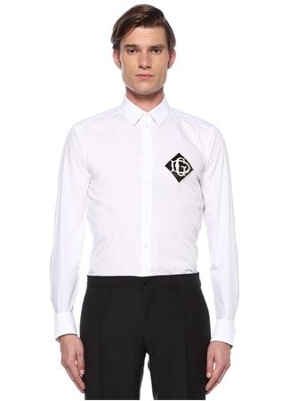 Gold Slim Fit Beyaz Patch Detaylı Gömlek
