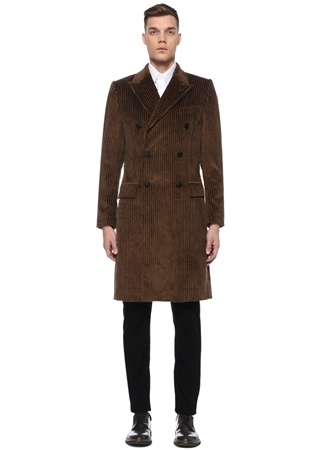Dolce&Gabbana Erkek Kahverengi Çizgi Dokulu Kruvaze Kadife Palto 50 IT male