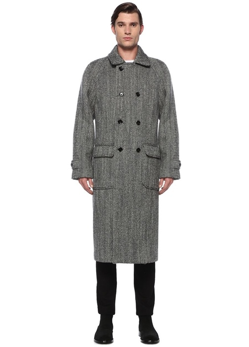 Gri Beyaz Kırlangıç Yaka Zikzak Dokulu Yün Palto
