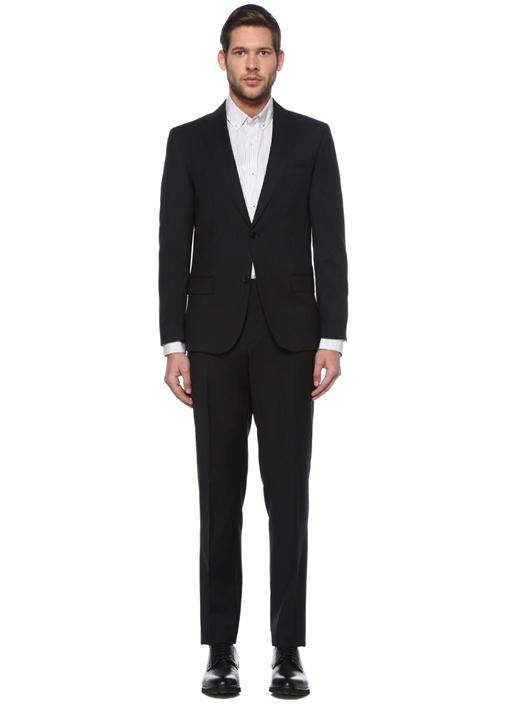 Drop6 Slim Fit Siyah İnce Çizgili Yün Takım Elbise
