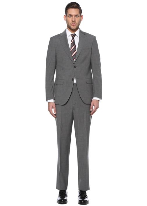 Drop 4 Regular Fit Gri Ekoseli Yün Takım Elbise