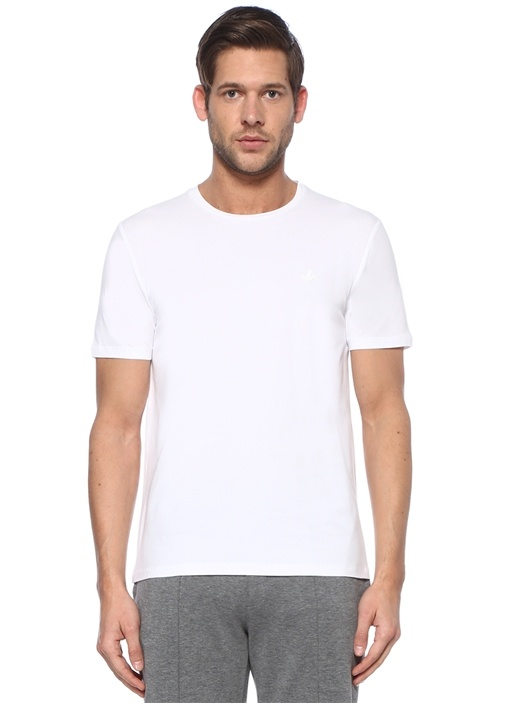 Beyaz Kuş Logolu Basic T-shirt