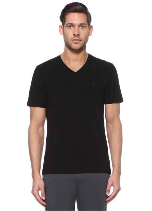 Siyah V Yaka Kuş Logolu Basic T-shirt
